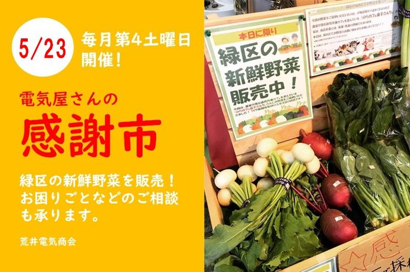 【5月23日】緑区の新鮮野菜を販売!街の電気屋さんの「感謝市」開催!<緑区中山エリア>