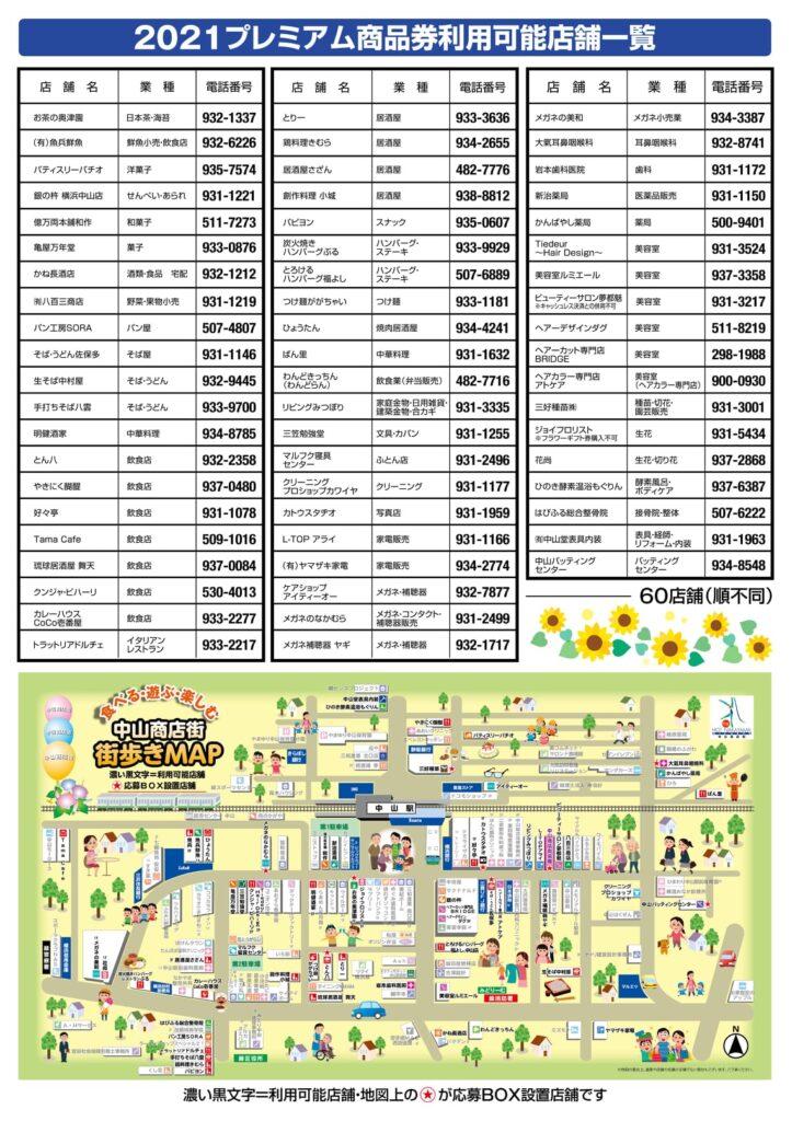2021年中山商店街プレミアム付商品券 利用可能店舗